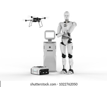 3d rendering cyborg with drone, warehouse robot and assistance robot