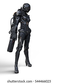 3d rendering of a cyborg girl standing on a white background