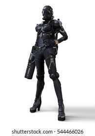 3D rendering cyborg girl standing on a white background