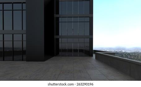 3d rendering. dark blank exterior scene with concrete floor dark glass