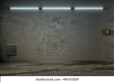 3d rendering of a dark room with three neon lights
