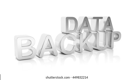 3D rendering of Data Backup text , isolated on white background.