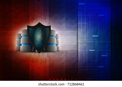 3d rendering Database and computer data security concept