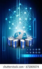 3d rendering Database storage network concept