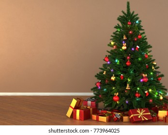 3d Rendering decorated Christmas tree with toys and gifts