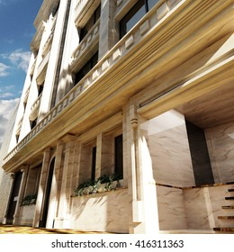 3d rendering and design - classical building - detail