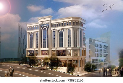 3d rendering and design- commercial classical building