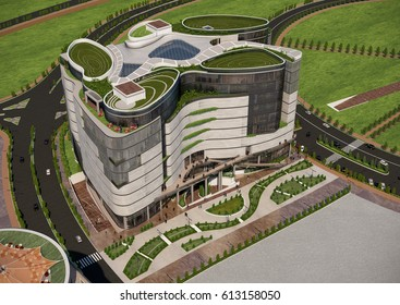 3d rendering and design - mall - top view - flow motion