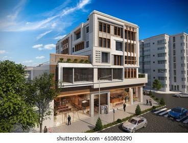3D RENDERING AND DESIGN - MULTI PURPOSE BUILDINGS - VIEW 1