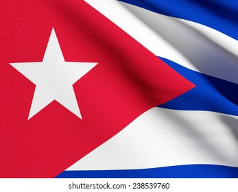 3d rendering of a detail of a  Cuba flag