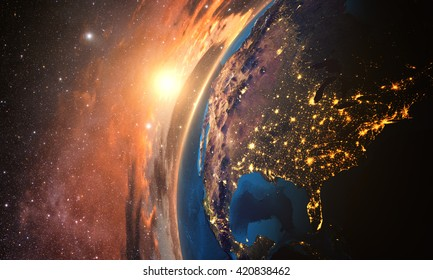 3D rendering of detailed colorful Earth,  highly detailed planet earth in the evening, sunset over USA, Elements of this image furnished by NASA