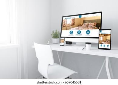 3d rendering of devices on desktop. booking room browser website on screen.