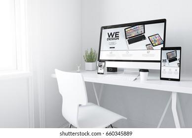 3d rendering of devices on desktop. responsive design mobile apps website on screens.