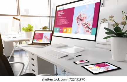 3d rendering devices on modern office. White screen.
