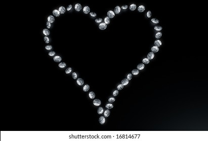 3d rendering of diamonds in the shape of a heart