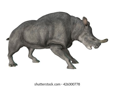 3D rendering of a died animal Brontotherium isolated on white background