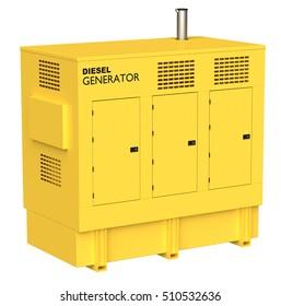 3D rendering of a diesel electric generator