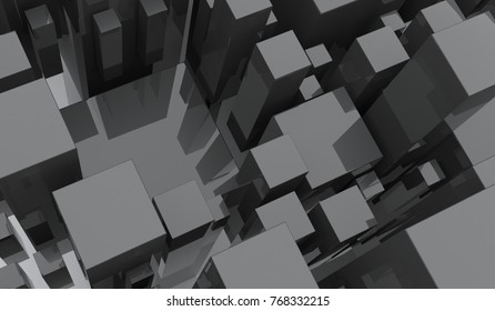 3D Rendering Of Different Size Cubes Dark Background