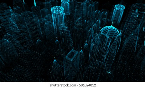 3D Rendering Digital Cyber City Particles HUD Background