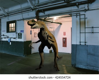 3d rendering of a dinosaur emerging from a restroom