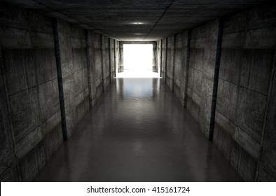 A 3D rendering of a distant look down a dark stadium sports tunnel to enter a lit arena in the distance