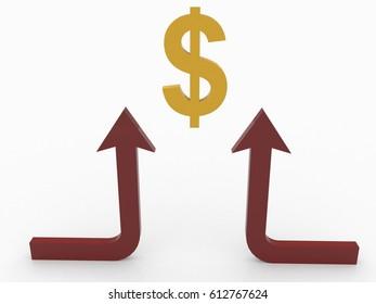 3d rendering Dollar symbol with arrow