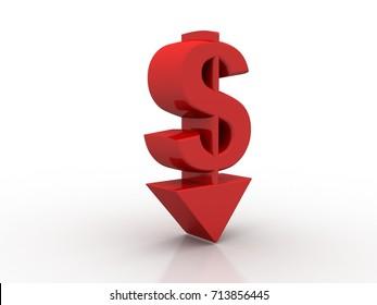3d rendering Dollar symbol down arrow