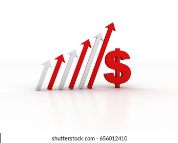 3d rendering Dollar symbol with graph