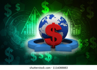 3d rendering Dollar symbol on world map