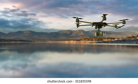 3D rendering of a drone equiped with a camera on a natural landscape