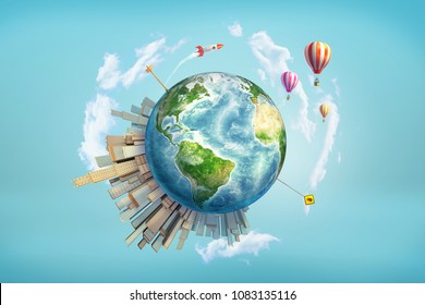 3d rendering of earth globe with office skyscrapers, traffic and road signs standing on it, and rockets launching in the sky. International business. Worldwide projects. Start-ups and innovations