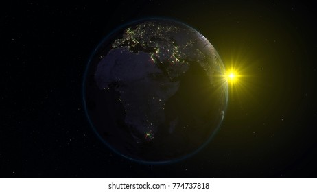 3D rendering Earth from space against the background of the starry sky and the Sun. Shadow and illuminated side of the planet with cities. Through the atmosphere of the planet can be seen the sunrise