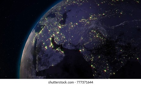 Outer space city stock images royalty free images vectors 3d rendering earth from space against the background of the starry sky shadow and illuminated voltagebd Image collections