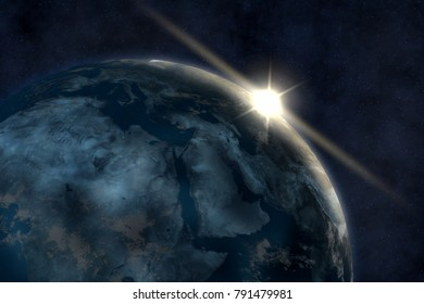 3D rendering, the earth and the universe, the starry background