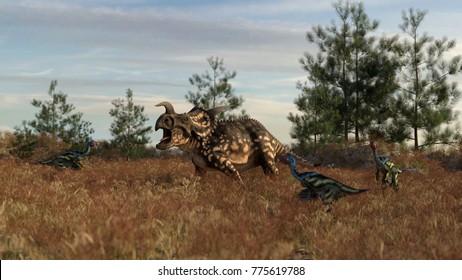 3d rendering of the einiosaurus attacked by caudipteryxes