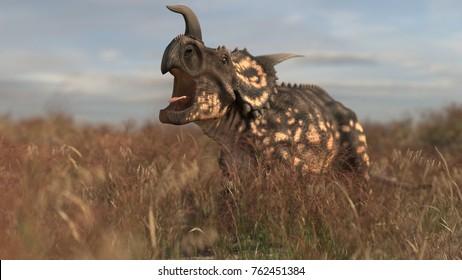 3d rendering of the einiosaurus in grass field
