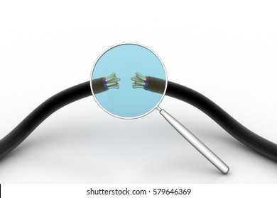 3D rendering of Electric cable with magnifier