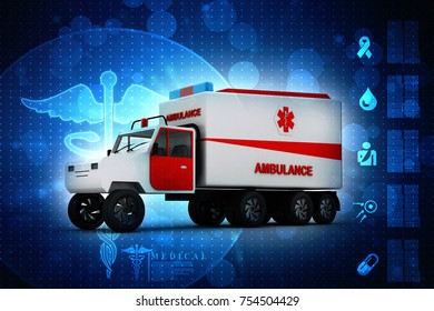 3d rendering Emergency ambulance car