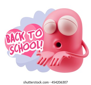 Emoticon Face Saying Back To School With Colorful Speech Bubble.
