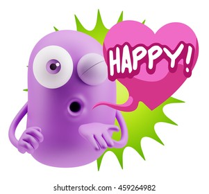 3d Rendering. Emoticon Face saying Happy with Colorful Speech Bubble.