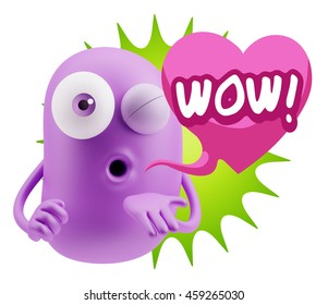 3d Rendering. Emoticon Face saying Wow with Colorful Speech Bubble.