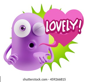 3d Rendering. Emoticon Face saying Lovely with Colorful Speech Bubble.
