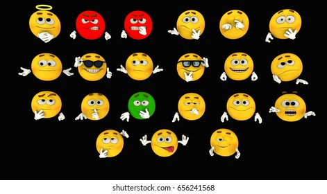 3d rendering of emoticons