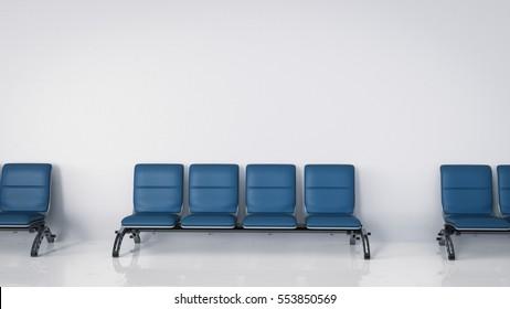 3d rendering empty airport seats