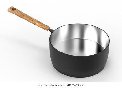 3d rendering empty black saucepan