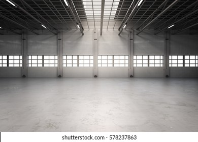 3d rendering empty factory interior or empty warehouse