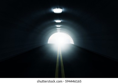 3d rendering of empty highway tunnel with white light