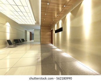 3d rendering empty lobby interior.