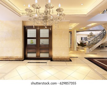 3d rendering empty lobby interior.