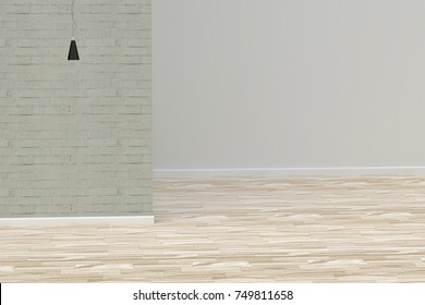 3D rendering of empty room with lamp modern and brick wall decor with wooden floor